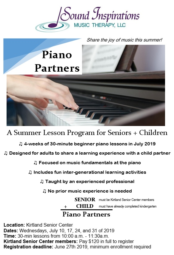 Piano Partners - combined lessons for an older adult + child @ Kirtland Senior Center | Kirtland | Ohio | United States